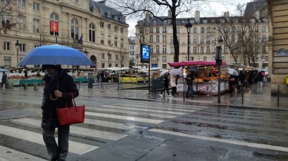 Rainy day but the market goes on.