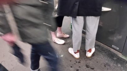 I'm not a fashionista type. But, in Paris, shoes are everything. I saw more amazing shoes there then ever before. These folks were just ahead of me at the Metro on a rainy, muddy day and I loved that their shoes were still so white and perky.